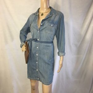 Button Up Jean Dress With Belted Tie Waist